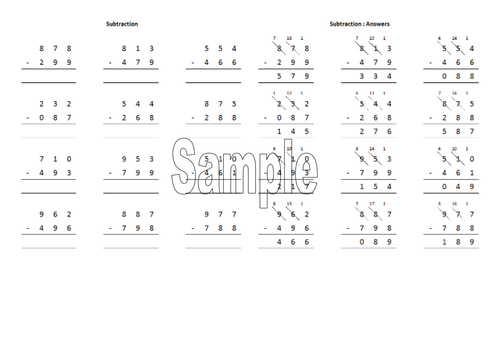 Column subtraction worksheet generator