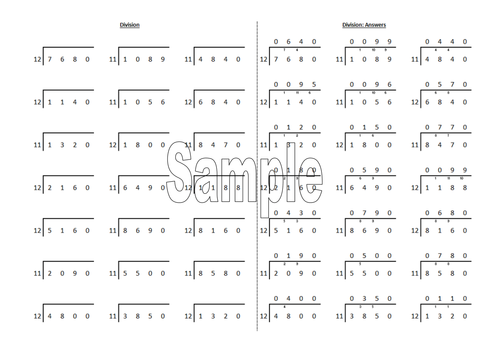 Bus stop ShortDivision worksheet generator by RobAnthony – Short Division Worksheet