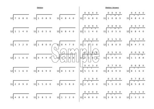 'Bus stop' Short-Division worksheet generator