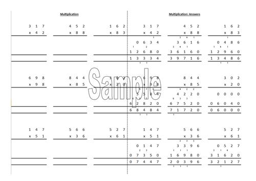 Column multiplication worksheet generator