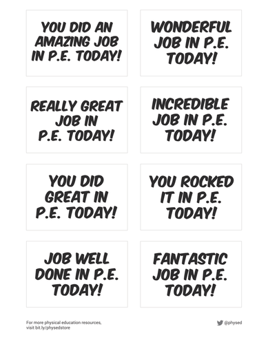 Physical Education Student Encouragement Cards - Part 1