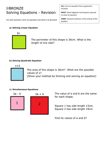 Forming And Solving Equations High Grades By Whistleandsums
