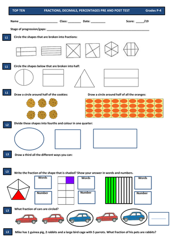 Fractions & Decimals Maths Test Pre and Post Assessment for All Primary Years: 1 2 3 4 5 & 6