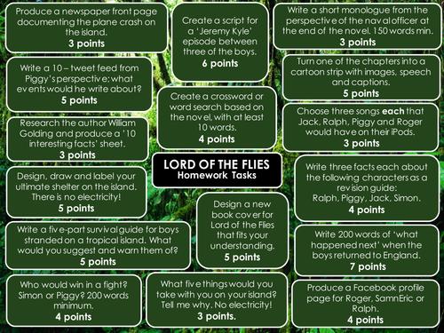 Lord of the Flies Choice Homework Menu - Lots of Tasks!