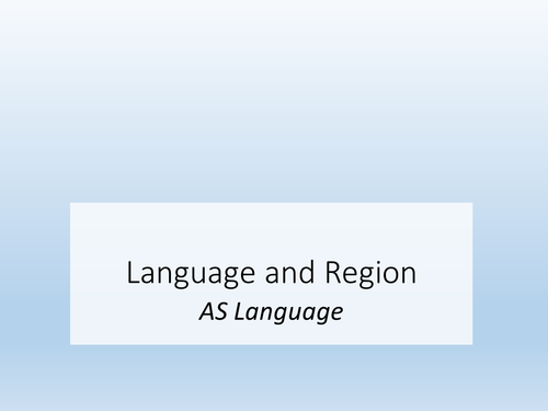 Language and Region - Regional Dialect
