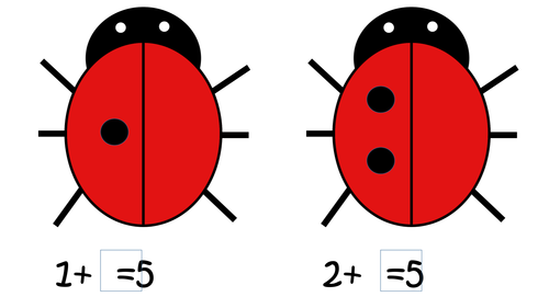 Ladybird Missing Number Addition Cards to encourage Counting On using Number Bonds to 5