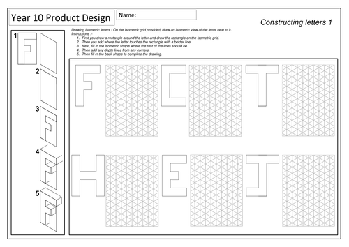 Isometric Drawing Worksheets by gemmataylor82 Teaching Resources – Isometric Drawing Worksheet