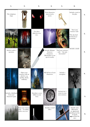 Creative Writing: Horror Story Grid
