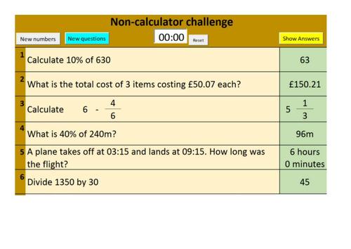 Sample version of Randomised GCSE Foundation and Higher Number starter questions