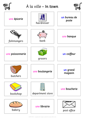 fun french match up activity les magasins shops a la ville in town ks2 ks3 french mfl by. Black Bedroom Furniture Sets. Home Design Ideas