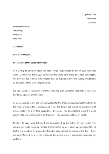 Formal Letters of Complaint
