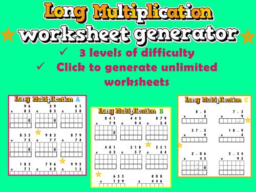 Long Multiplication Worksheet Generator Ks2ks3 Sats By Ambowers2