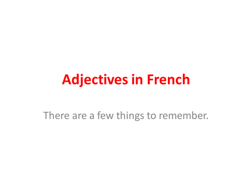 Adjectives in French