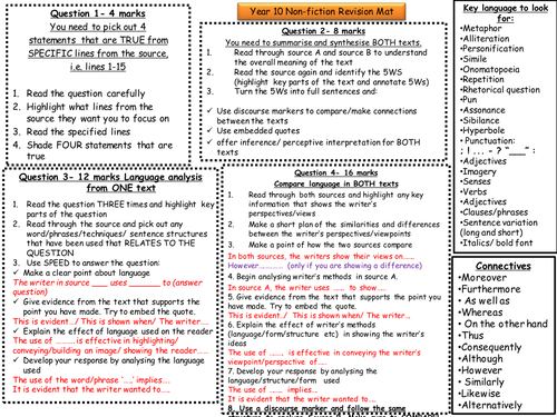 Revision Mat for English Language Paper 2: Reading