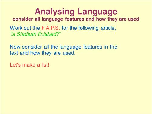 Analysing Reading Text Language