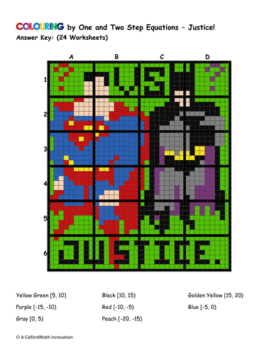 Colouring by 1 & 2 Step Equations - Dawn of Justice (collaborative 24-sheet  math mosaic, pdf file)