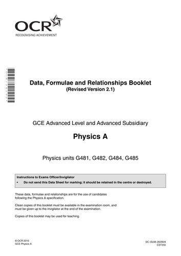 A Level - OCR AS New Specification Physics Resources - PPTs, Worksheets, Tests - Scheme of Work