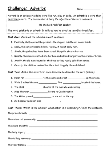 Adverbs worksheet - Challenge Year 3