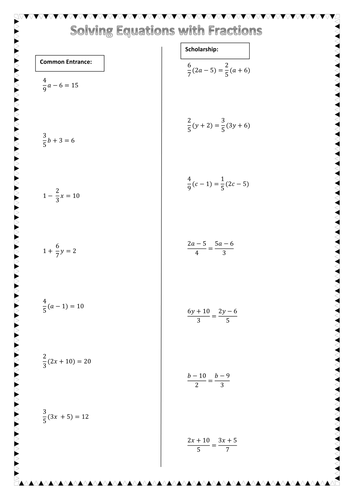 Solving Equations With Fractions By Chuiyl Teaching Resources Tes