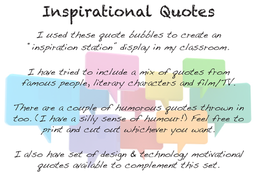 Classroom Design Quotes ~ Motivational inspirational quote bubbles display by