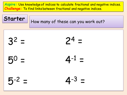 Fractional and Negative Indices by rhydwatkins9386 Teaching – Fractional Powers Worksheet