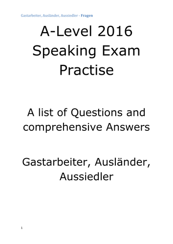 A2 German Speaking Test Questions and Answers - Gastarbeiter, Ausländer, Immigration