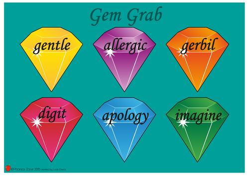 g (j) Phonics Game 'Gem Grab'