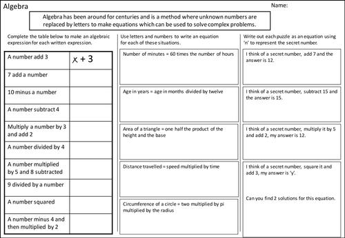 Algebra - creating algebraic expressions