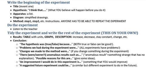 Shortest possible summary of experiment points to remember