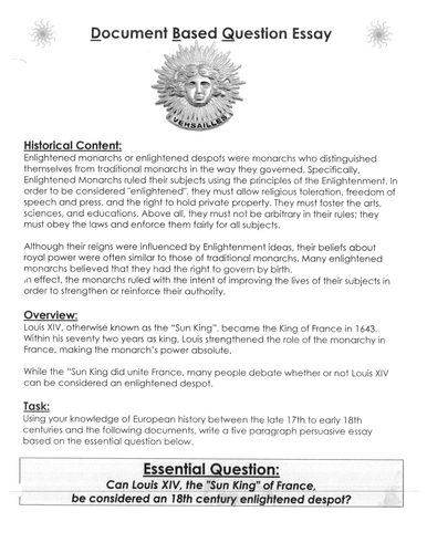 age of absolutism in dbq was louis xiv the sun king an  age of absolutism in dbq was louis xiv the sun king an 18th c enlightened despot by linni0011 teaching resources tes