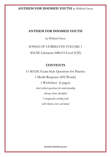 Anthem for Doomed Youth by Wilfred Owen: 11 IGCSE Style Questions_1 Worksheet and 1 Model Response