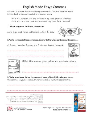 English Made Easy: Commas Key Stage 1