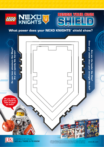 Lego Nexo Knights Design Your Own Shield Activity Sheet By Claire Morrison Teaching