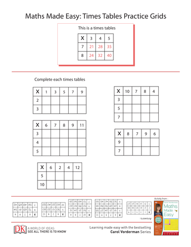 Times Tables Practice Grids Key Stage 2 Ages 7 - 11