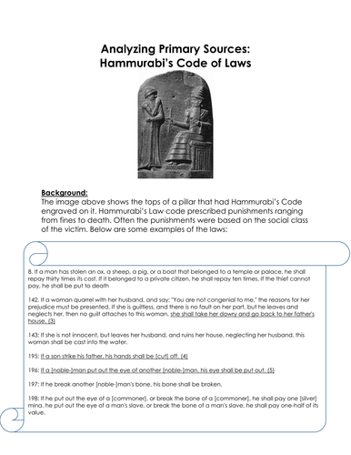 analyzing primary sources hammurabi s code of laws worksheet by linni0011 teaching resources. Black Bedroom Furniture Sets. Home Design Ideas