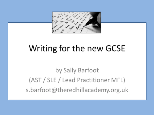 Writing for the new GCSE in MFL