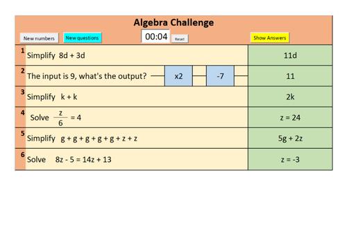 Sample version of Randomised GCSE Foundation and Higher Algebra starter questions