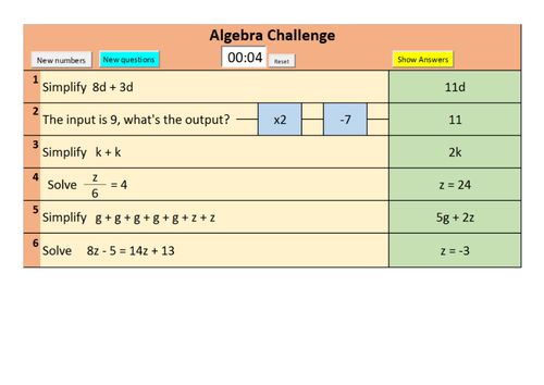 OLD SPEC Randomised GCSE Foundation and Higher algebra starter questions