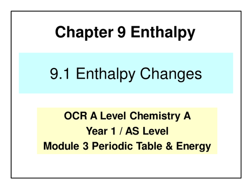 NEW OCR A Level Chemistry - Enthalpy Changes   Teaching ...