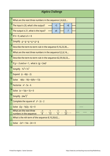higher gcse algebra revision sheet by robanthony teaching resources tes. Black Bedroom Furniture Sets. Home Design Ideas