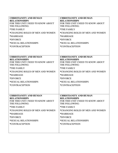 Christianity, marriage and human relationships revision pack