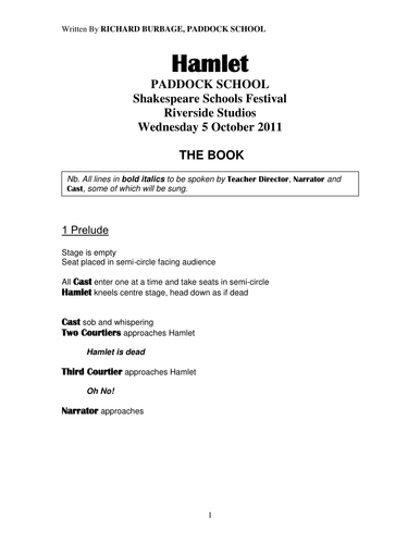 Hamlet: Performance Script for pupils with autism and severe learning difficulties