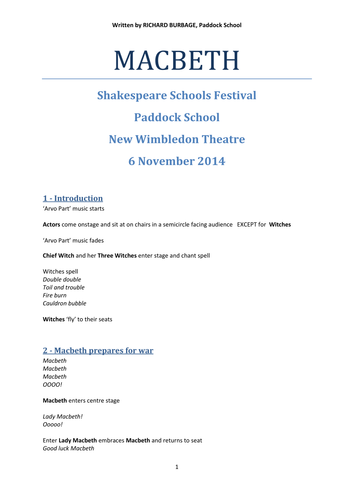 Macbeth (2014): Performance Script for pupils with autism and severe learning difficulties