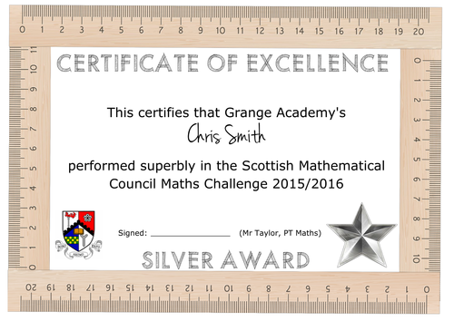 Maths Certificate Template by aap03102 | Teaching Resources