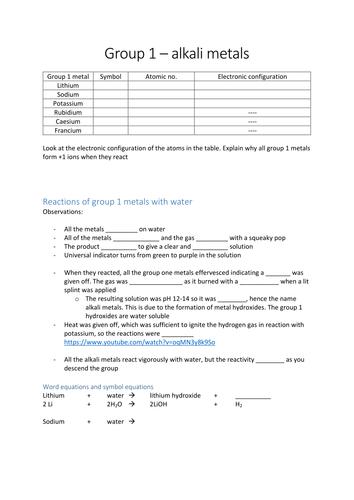 Group 1 Alkali metals OCR GCSE C4