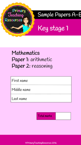 5 KS1 Sample Maths SATs Papers arithmetic and  reasoning papers with answers and tracking sheets)