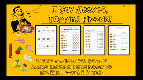 pizza themed worksheet addition and subtraction of money to 50p by krazikas teaching. Black Bedroom Furniture Sets. Home Design Ideas