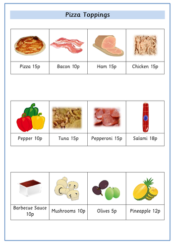 Pizza Themed Worksheet - Addition and Subtraction of Money to 50p ...