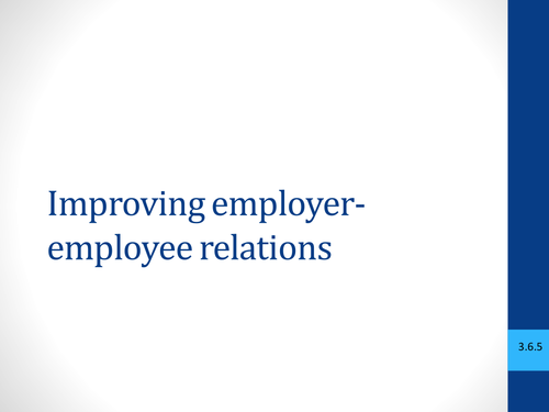 Trade Unions lesson and activity -  Employer, ACAS and Employee