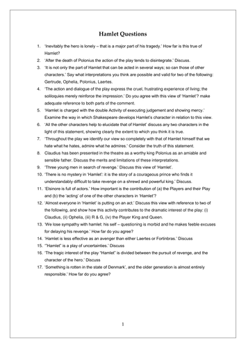 Pursuasive Essay Hamlet Essay Questions Essay Importance Of Water also Essay About My Life Hamlet Revision Activities For Ocr Alevel By Misssk  Teaching  English Essays Examples